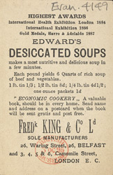 Advert for Edward's Desiccated Soup, reverse side